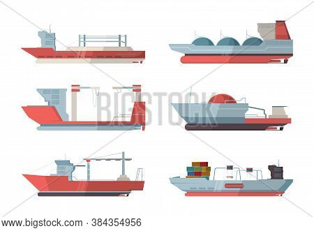 Cargo Ship. Marine Vessel Ocean Ship With Crane And Containers Vector Flat Pictures. Transport Cargo