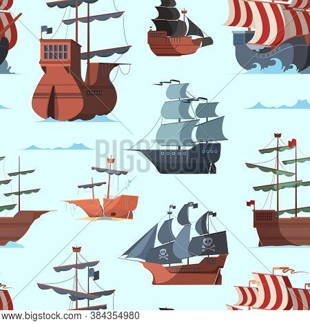 Pirate Ship Pattern. Old Shipping Boat Adventure Concept Seamless Vector Background. Sea Boat Travel