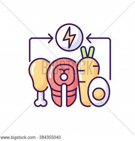 Energy Value Rgb Color Icon. Nutrient Food. Nourishment From Foodstuff. Healthy Eating. Carbohydrate