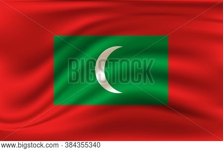 Flag Of Maldives. Realistic Waving Flag Of Republic Of Maldives. Fabric Textured Flowing Flag Of Mal