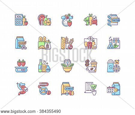 Healthy Eating Rgb Color Icons Set. Protein Supplement. Vitamin In Mineral Pill. Food Group. Dietary