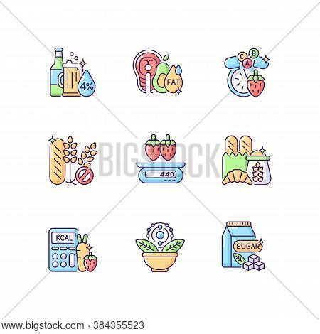 Foodstuff For Nourishment Rgb Color Icons Set. Alcohol Drink. Good Fats. Vitamin And Mineral Supplem