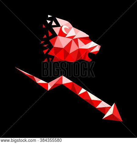 Silhouette Of Bears Head And Falling Graf In Low Poly Style. Bearish Market Trend Concept. Isolated