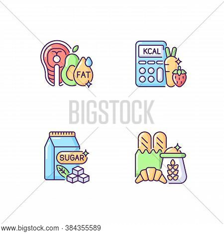 Food For Weight Loss Rgb Color Icons Set. Good Fats. Count Calorie For Dietary. Sugar Products. Carb