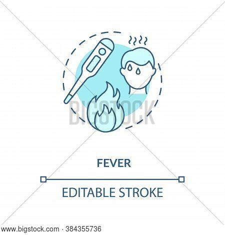 Fever Concept Icon. Flu Infection, Cold Symptom. Vaccination Contraindications Idea Thin Line Illust