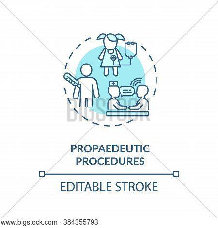 Propaedeutic Procedures Concept Icon. Medical Exam, Patient Observation Idea Thin Line Illustration.