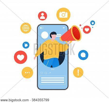 Social Media Influencer. Illustration With Man Holding Megaphone. Different Social Media Icons.