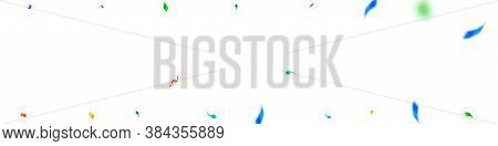 Streamers And Confetti. Colorful Streamers Tinsel And Foil Ribbons. Confetti Border On White Backgro