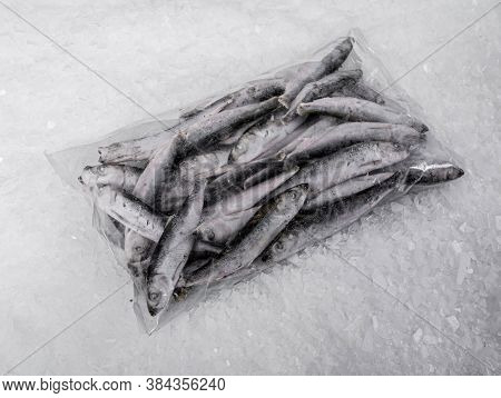Close-up Of A Plastic Bag With Small Sea Fish. Frozen Sardines. Pieces Of Ice. Fish Market.