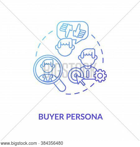 Buyer Persona Concept Icon. Target Market Idea Thin Line Illustration. Social Media Audience Researc