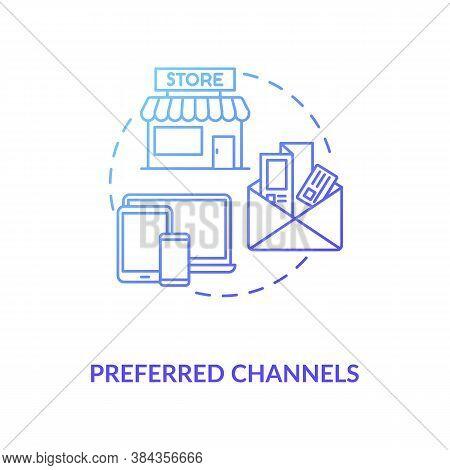 Preferred Channels Concept Icon. Digital Advertising, Offline Promo, Paid Search Idea Thin Line Illu
