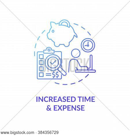 Increased Time And Expense Concept Icon. Niche Marketing Research Idea Thin Line Illustration. Time