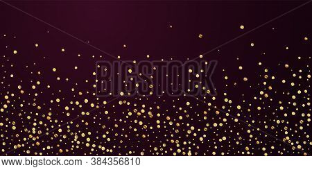 Sparse Gold Confetti Luxury Sparkling Confetti. Scattered Small Gold Particles On Red Maroon Backgro