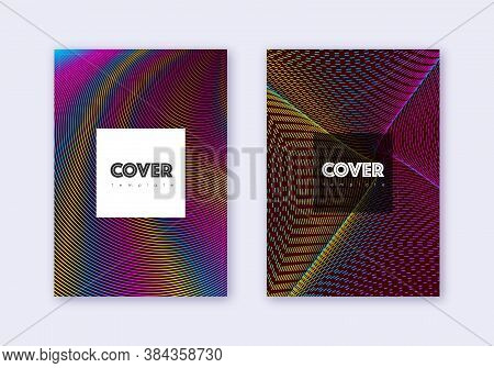 Hipster Cover Design Template Set. Rainbow Abstract Lines On Wine Red Background. Creative Cover Des