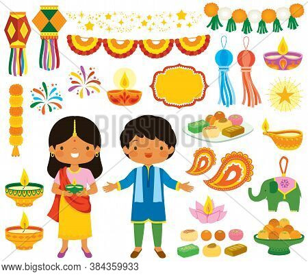 Diwali Clipart Set. Various Symbols Of The Indian Festival Of Lights With Children, Oil Lamps, Decor