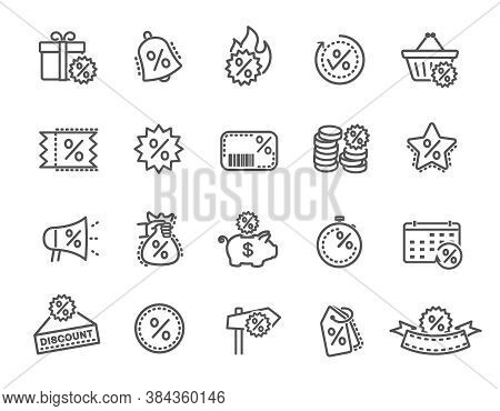 Large Set Of Line Drawn Black And White Discount Tags And Labels For Sales And Bargain Concepts, Vec
