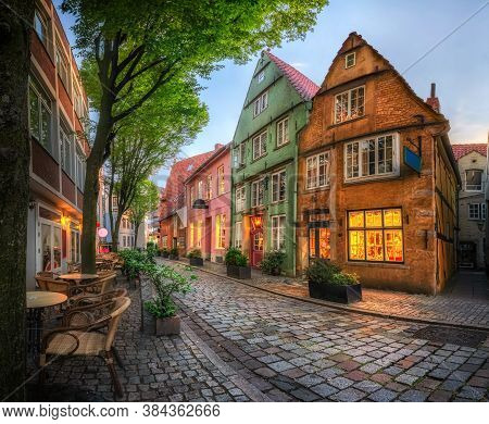 Schnoor - Picturesque Historic District With Cobblestone Streets And Small Colorful Houses In Bremen