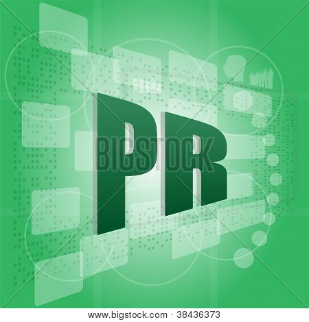 Pixelated Words Pr (public Relations) On Digital Screen