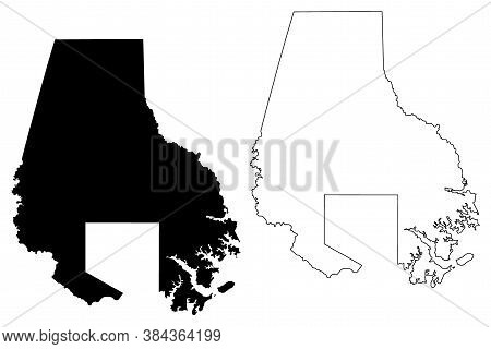 Baltimore County, Maryland (u.s. County, United States Of America, Usa, U.s., Us) Map Vector Illustr