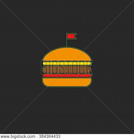 Burger Logo Fastfood Symbol In Minimal Style, Silhouette Of A Hamburger With A Red Flag Bun, Cutlet,