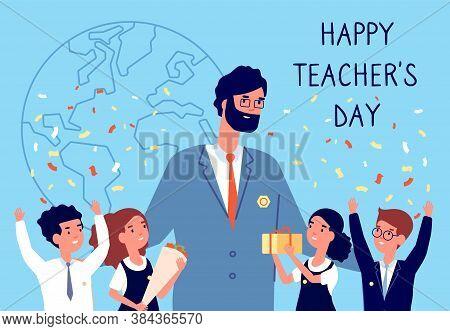 Teachers Day. Flowers To Teacher, Students Kids In Uniform. International Holiday Of Education. Happ