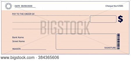Bank Check. Blank Business Checks, Money Donation Cheque. Empty Checkbook Page Template. Simple Paym