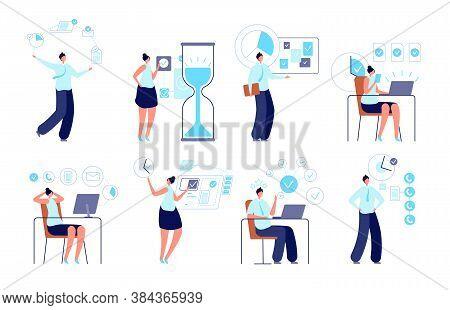 Successful Time Management. Entrepreneur Organizing Activity, Manager Planning Work. Tasks Or Schedu