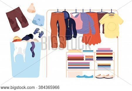 Dirty Clothes. Laundry Stack, Basket Apparel Pile For Washer. Isolated Clean Fashion Pants Sweater S