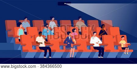 People In Cinema. Movie Theater, Multicultural Audience Watch Film. Little Viewers, Couple Sit On Re