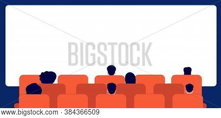People Watching Movie. Cinema Audience, Cartoon Person Sitting Back. Man Woman In Theater And Empty