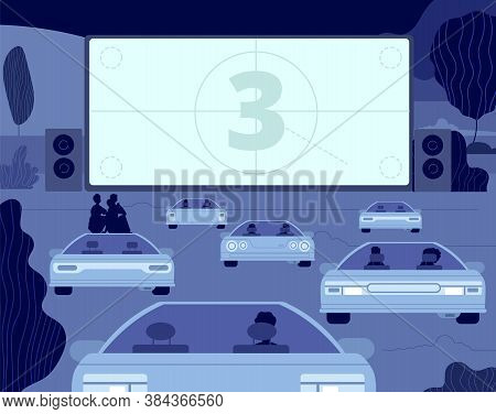 Car Cinema. Large Kino Theater, Outside Drive Movie Scene. Audience In Autos, Open Sky Entertainment