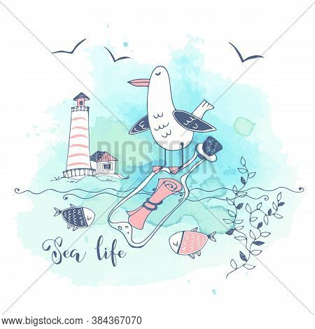 Postcard On The Sea Theme With A Big Cute Seagull Sitting On A Bottle With A Letter. Graphics And Wa