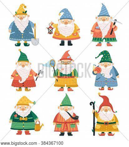 Gnome Characters. Cartoon Garden Dwarf, Cute Beard Men. Season Spring Summer Gardening Fantasy Funny