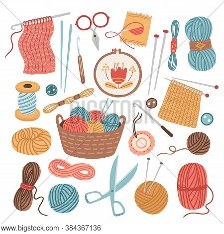 Knitting Threads. Knit Sewing, Wool Yarn Balls. Isolated Cartoon Handicraft Accessories, Crochet Nee