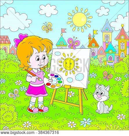 Cute Happily Smiling Little Girl Drawing The Sun And Clouds With Paints On Her Easel In A Green Summ
