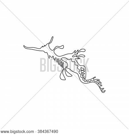 One Continuous Line Drawing Of Cute Leafy Seadragon For Aquatic Logo Identity. Camouflage Animal Mas