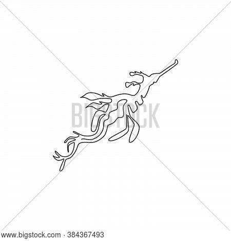 One Single Line Drawing Of Beautiful Leafy Seadragon For Company Logo Identity. Sea Monster Mascot C