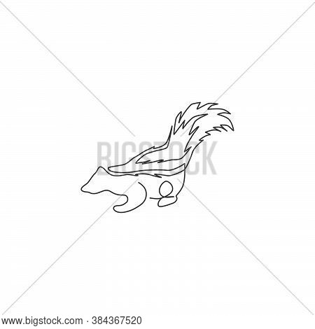 One Continuous Line Drawing Of Cute Striped Skunk For Logo Identity. Mephitidae North And South Amer