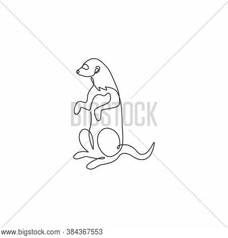 One Single Line Drawing Of Adorable Meerkat For Company Logo Identity. Suricata Suricatta Animal Mas