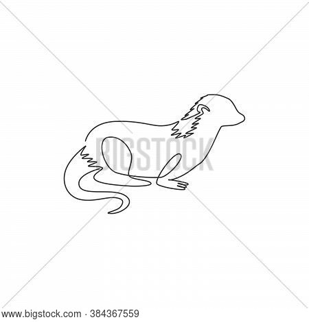 One Single Line Drawing Of Funny Otter For Pet Logo Identity. Weasel Animal Mascot Concept For Natio