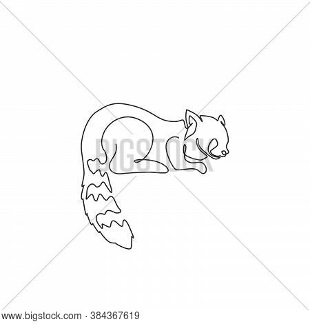 One Continuous Line Drawing Of Cute Red Panda For Company Logo Identity. Adorable Lesser Panda Masco