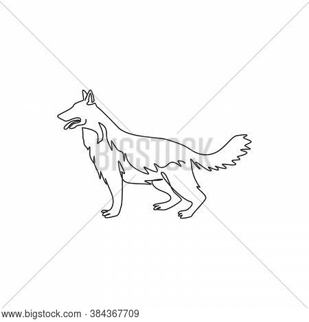 Single One Line Drawing Of Dashing German Shepherd Dog For Company Logo Identity. Purebred Dog Masco