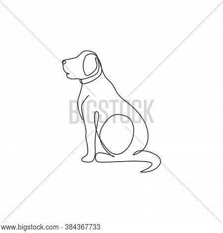 Single One Line Drawing Of Adorable Labrador Retriever Dog For Logo Identity. Purebred Dog Mascot Co