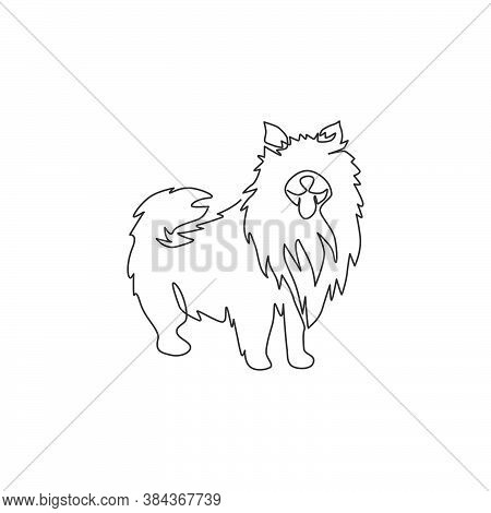 Single One Line Drawing Of Cute Pomeranian Dog For Company Logo Identity. Purebred Dog Mascot Concep