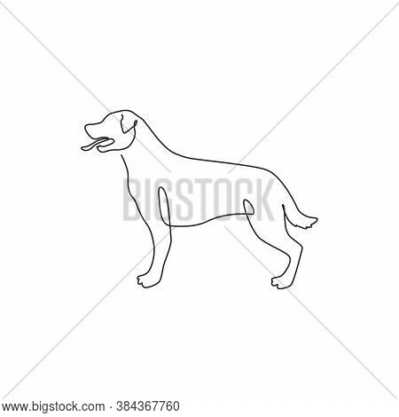 One Continuous Line Drawing Of Fierce Rottweiler Dog For Security Company Logo Identity. Purebred Do