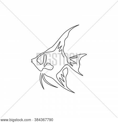 Single One Line Drawing Of Funny Freshwater Anglefish For Company Logo Identity. Cute Pterophyllum F