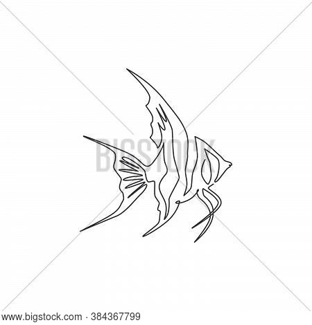 One Continuous Line Drawing Of Cute Freshwater Angelfish For Company Logo Identity. Beauty Pterophyl