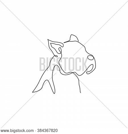 Single Continuous Line Drawing Of Fierce Boxer Dog Head For Security Company Logo Identity. Purebred