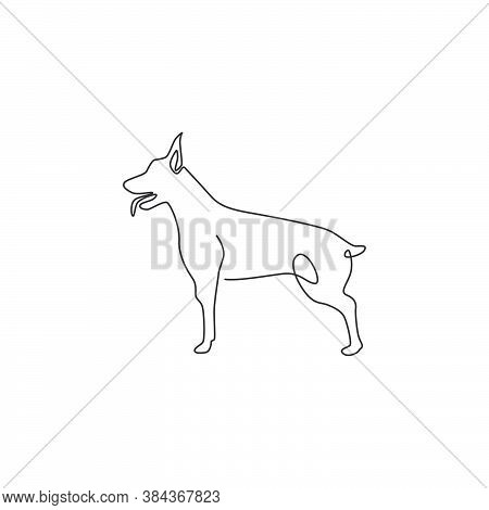 Single Continuous Line Drawing Of Dashing Doberman Dog For Security Company Logo Identity. Purebred