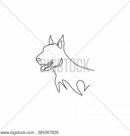 One Continuous Line Drawing Of Fierce Doberman Dog For Security Company Logo Identity. Purebred Dog